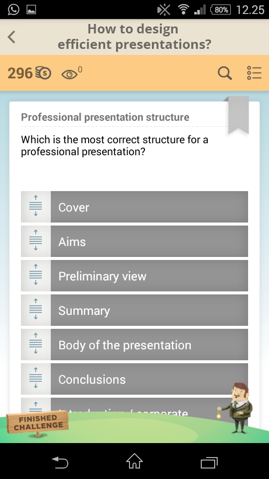 Professional presentation structure